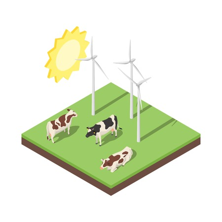 midwest: Isometric 3d vector illustration of windmill and cows. Alternative energy. Icon for web. Isolated on white background. Illustration
