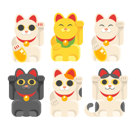 Vector flat style set of Japanese Lucky Cat Maneki Neko. Icon for web. Isolated on white background.