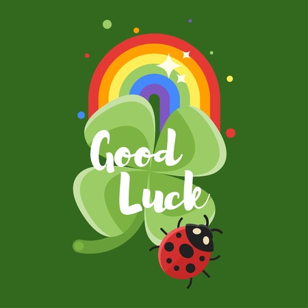 Vector flat style illustration of rainbow and clover. With title God Luck. Icon for web. Isolated on green background.