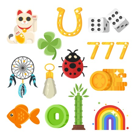 Vector flat style set of luck objects. Coin, clover, rainbow. Icon for web. Isolated on white background.