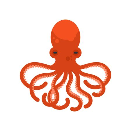 Vector flat style illustration of octopus. Icon for web.