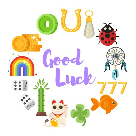 rouleau: Vector flat style set of luck objects. Coin, clover, rainbow. Icon for web. Isolated on white background.