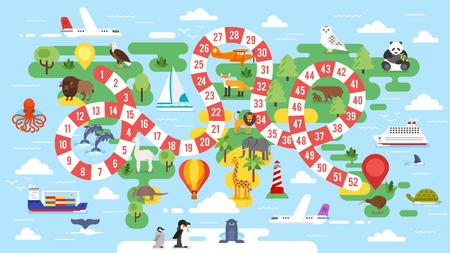 Wektorowa płaska styl ilustracja dzieciaka wycieczki turysycznej szablonu gra planszowa. Do druku.