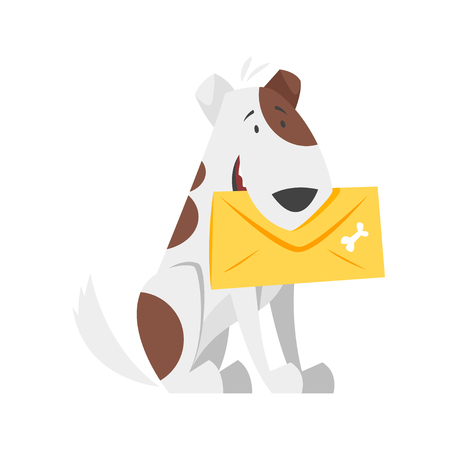 Vector cartoon style illustration of postal dog. Icon for web. Isolated on white background.