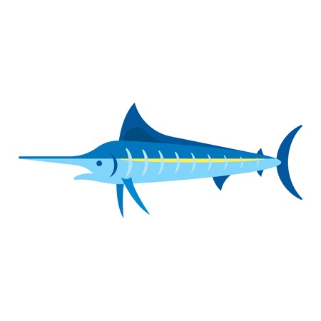 billfish: Vector flat style illustration of marlin. Icon for web. Isolated on white background. Illustration