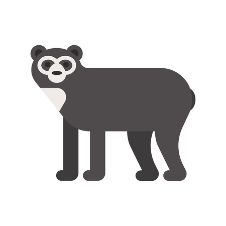 spectacled: Vector flat style illustration of spectacled bear. Icon for web. Isolated on white background.