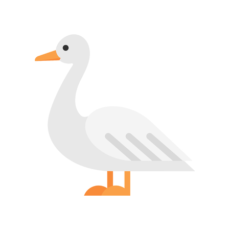 Vector flat style illustration of duck. Icon for web. Isolated on white background.