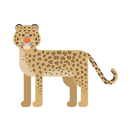 Vector flat style illustration of leopard. Icon for web.