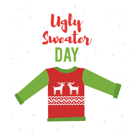 Vector cartoon style illustration of ugly sweater. Icon for web. Isolated on white background.