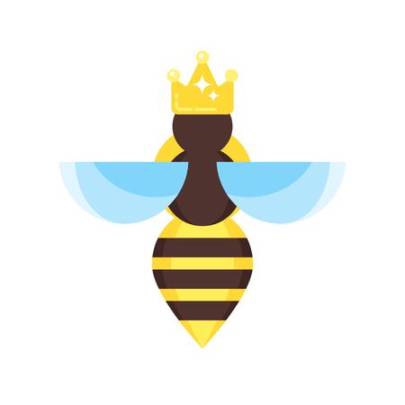 Vector flache Artabbildung der Bienenkönigin. Symbol für das Web. Getrennt auf weißem Hintergrund.