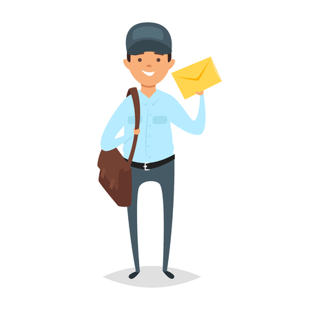 Vector cartoon style illustration of postman. Icon for web. Isolated on white background.