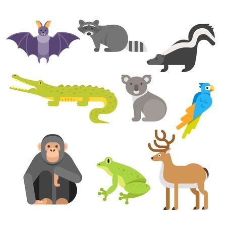 Vector flat style set of animals. Crocodile, raccoon, monkey. Icon for web. Isolated on white background. Illustration