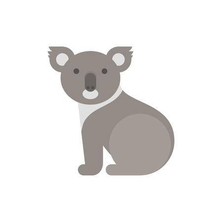 Vector flat style illustration of koala bear. Icon for web. Isolated on white background.
