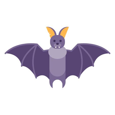 Vector flat style illustration of bat. Icon for web. Isolated on white background.
