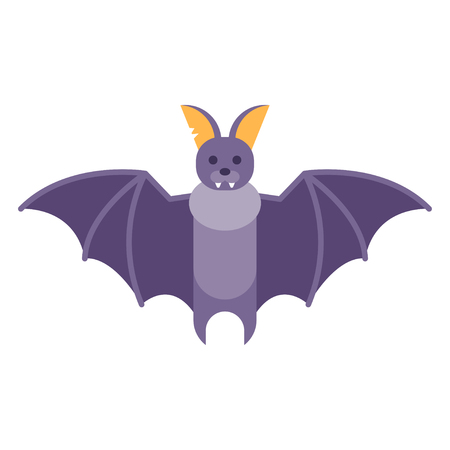 superstitious: Vector flat style illustration of bat. Icon for web. Isolated on white background.