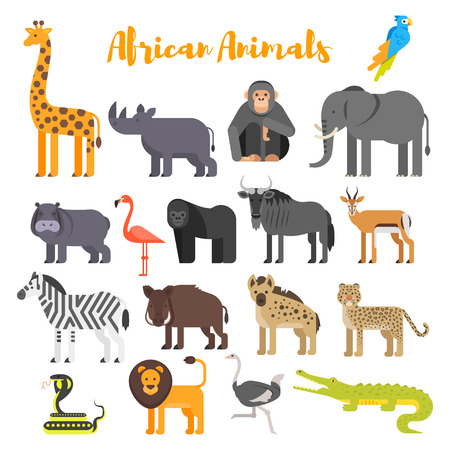 meerkat: Vector flat style set of African animals. Icon for web. Isolated on white background.