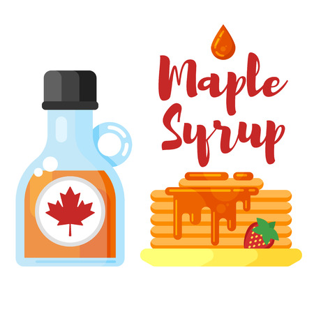 Vector flat style illustration of pancakes with maple syrup. Icon for web. Isolated on white background.