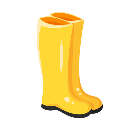 Vector cartoon style illustration of yellow rubber boots. Icon for web. Isolated on white background. Vetores