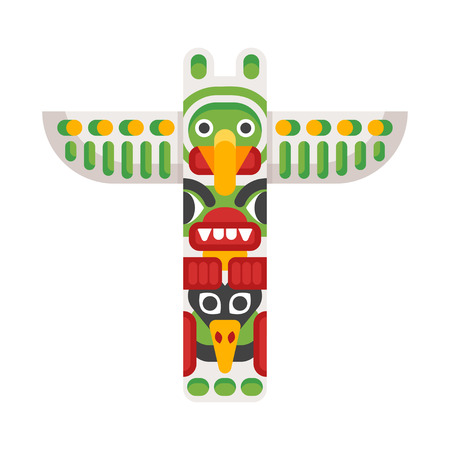 Vector flat style illustration of totem. Icon for web. Isolated on white background.