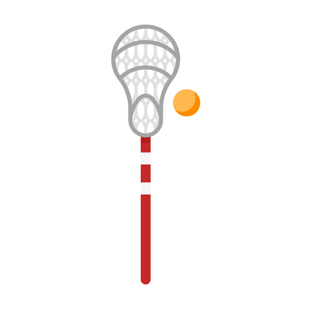 Vector flat style illustration of equipment for lacrosse game. Icon for web. Isolated on white background.