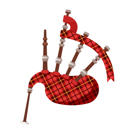 Vector flat style Scottish traditional musical instrument bagpipes. Icon for web. Isolated on white background.
