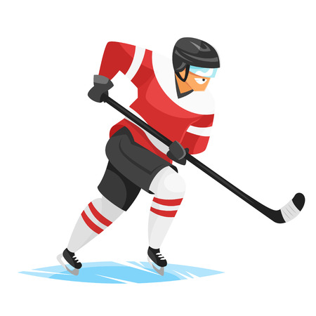 puck: Vector flat style illustration of hockey player. Icon for web. Isolated on white background.