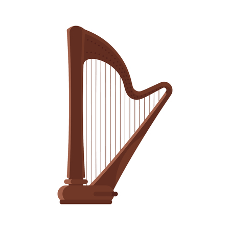 Vector flat style antique musical instrument harp. Icon for web. Isolated on white background. Illustration