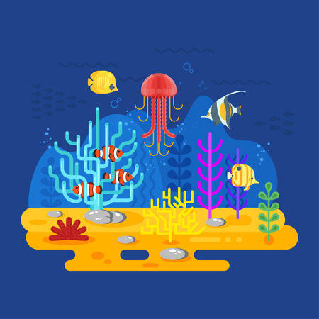 Vector flat style illustration of coral reef with fish. Icon for web. Isolated on blue background. Illustration