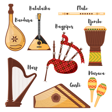 bagpipes: Vector flat style set of various traditional folk musical instruments. Icons for web. Isolated on white background.