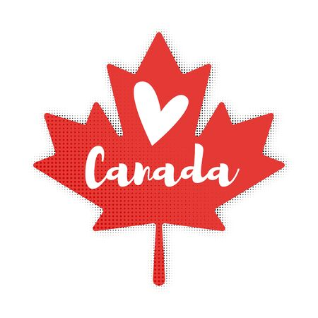 canadian flag: Vector flat style illustration of Maple Leaf. Icon for web. Isolated on white background. Illustration