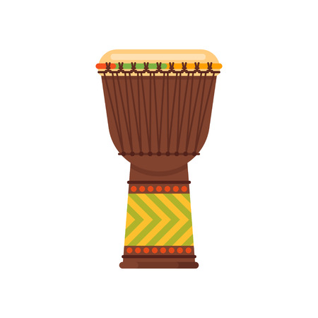 Vector flat style African drum musical instrument djembe. Icon for web. Isolated on white background.