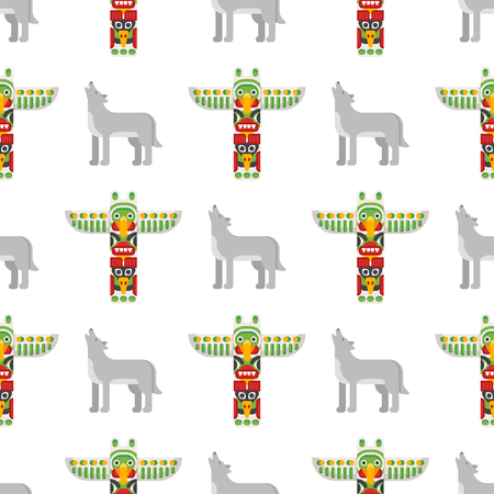 Vector flat style seamless pattern with tribal totem and wolf on white background.