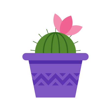Vector flat style cactus in pot with pink flower on the top. Icon for web. Isolated on white background.