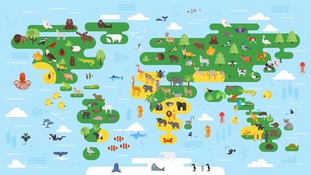 animals world map australia vector illustration preschool