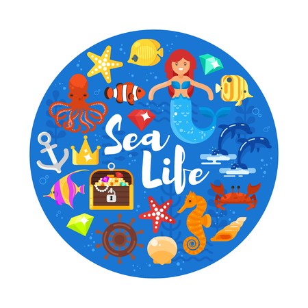 Vector flat style circle composition with sea life icons. Icon for web. Isolated on white background.