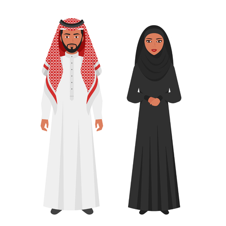 Vector flat style illustration of Muslim Arabic traditional clothing. Young Man and woman Isolated on white background. Icon for web.