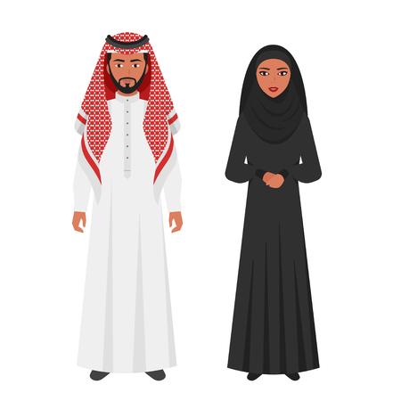 Vector vlakke stijlillustratie van Moslim Arabische traditionele kleding. Jonge man en vrouw die op witte achtergrond wordt geïsoleerd. Pictogram voor web.