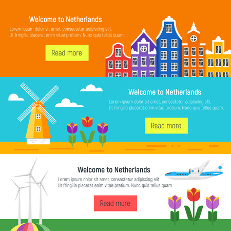 Vector flat style set of Welcome to Netherlands template for web banner or poster for tourist. Holland national cultural symbols.
