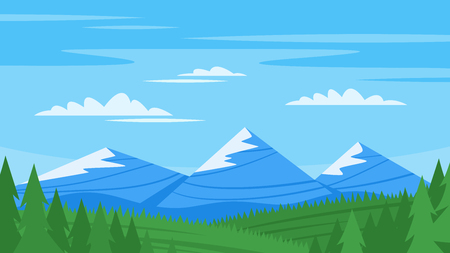 bliss: Vector cartoon style background with rocky mountains and forest Illustration