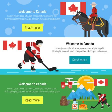 beavers: Vector flat style set of Welcome to Canada template for web banner or poster for tourist. Canadian national cultural symbols. Isolated on white background.