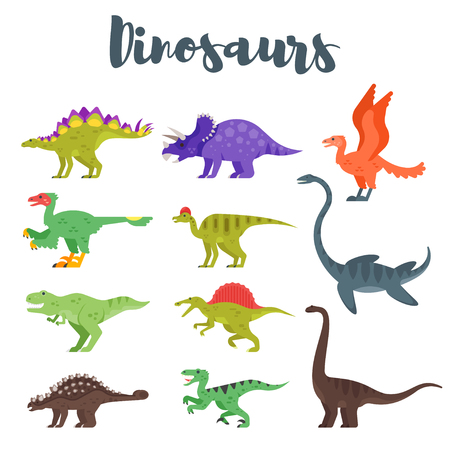 Vector flat style set of colorful prehistoric dinosaurs. Isolated on white background. Иллюстрация