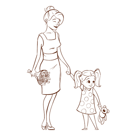 mother and baby: Vector hand drawn monochrome illustration of happy mother with her daughter.