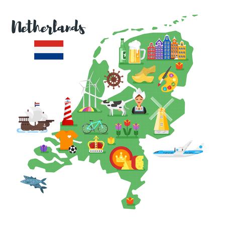 Ilustración de estilo plano de vector de mapa de países bajos con símbolos culturales nacionales de Holanda. Aislado en el fondo blanco. Ilustración de vector