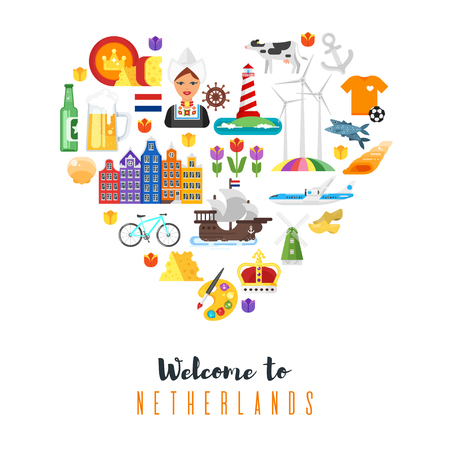 Vector flat style heart shape composition of Netherlands national cultural symbols. Template for banner or poster for tourist. Isolated on white background. Illustration