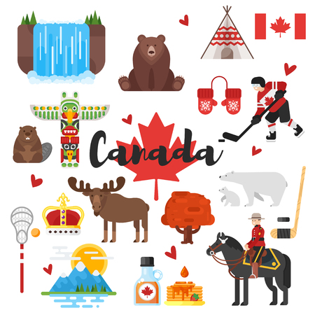 Vector flat style set of Canadian national cultural symbols. Icon for web. Isolated on white background.