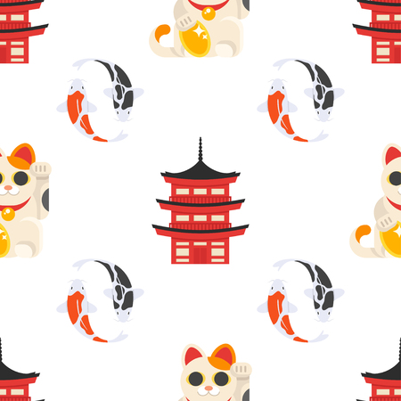 Vector flat style seamless pattern with Japanese maneki neko cat, koi fish and traditional japanese building on white background.