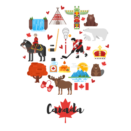 beavers: Vector flat style set of Canadian national cultural symbols. Template for banner or poster for tourist. Isolated on white background.