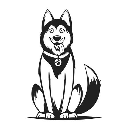 Vector monochrome illustration of husky dog. Isolated on white background.