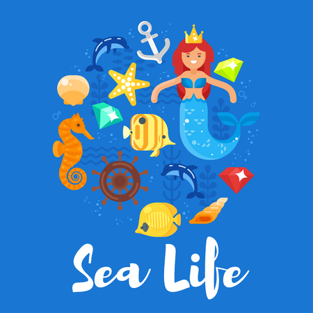 Vector flat style illustration of sea life. Icon for web.