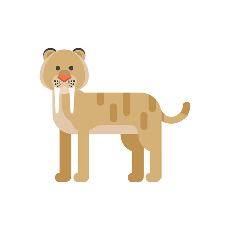 saber tooth: Vector flat style illustration of prehistoric animal - saber-toothed tiger. Isolated on white background.